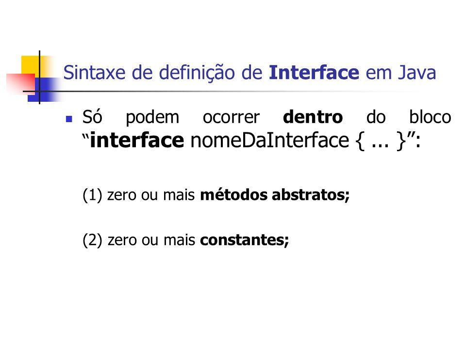 Sintaxe de definição de Interface em Java Só podem ocorrer dentro do bloco interface nomeDaInterface {... }: (1) zero ou mais métodos abstratos; (2) z