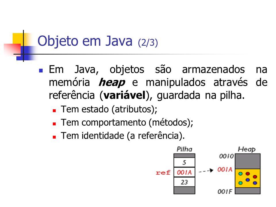 Objeto em Java (2/3) Em Java, objetos são armazenados na memória heap e manipulados através de referência (variável), guardada na pilha. Tem estado (a