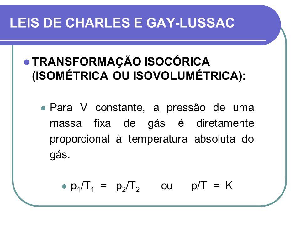 TRANSFORMAÇÃO ISOCÓRICA (ISOMÉTRICA OU ISOVOLUMÉTRICA): Para V constante, a pressão de uma massa fixa de gás é diretamente proporcional à temperatura