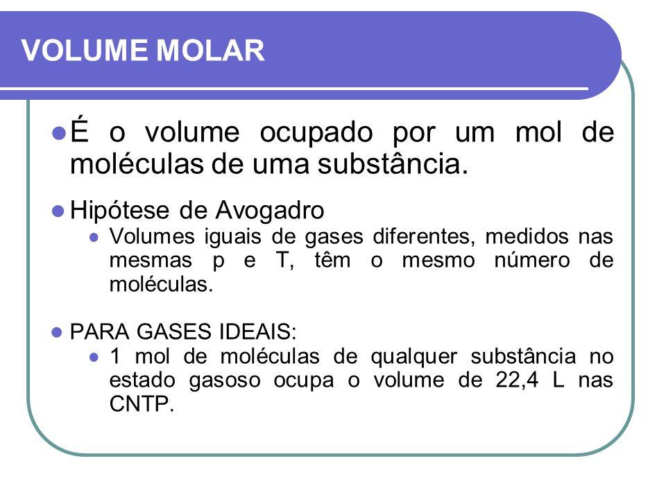 VOLUME MOLAR É o volume ocupado por um mol de moléculas de uma substância. Hipótese de Avogadro Volumes iguais de gases diferentes, medidos nas mesmas