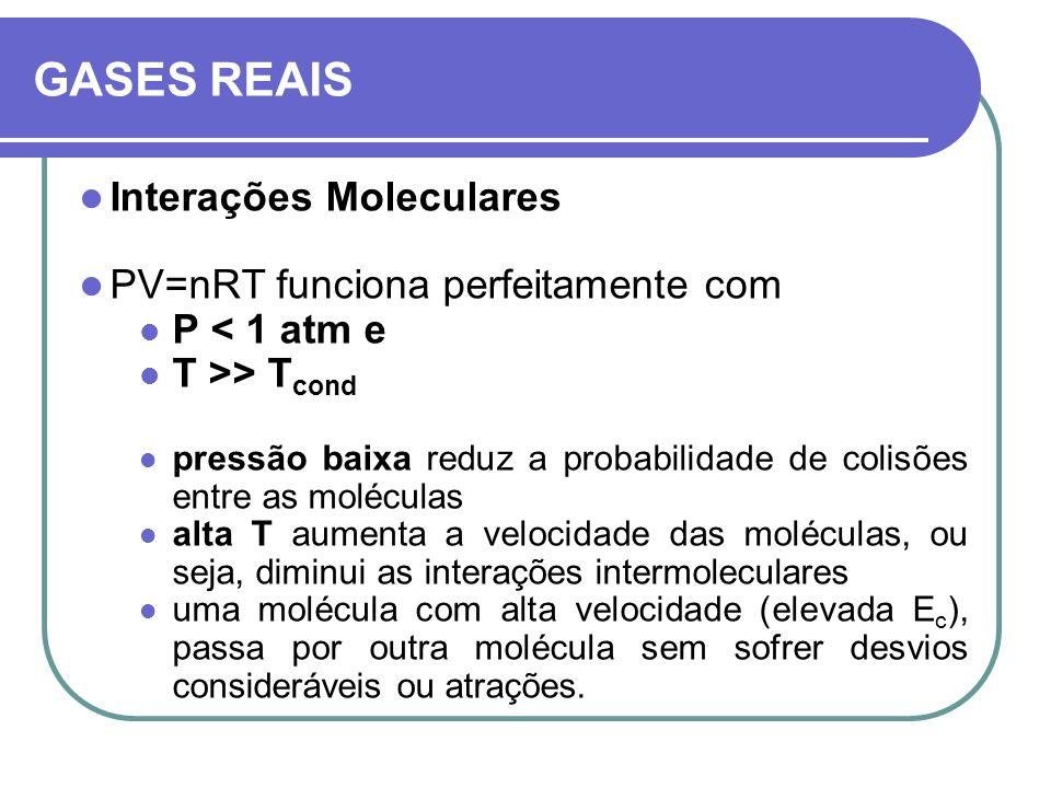 GASES REAIS Interações Moleculares PV=nRT funciona perfeitamente com P < 1 atm e T >> T cond pressão baixa reduz a probabilidade de colisões entre as