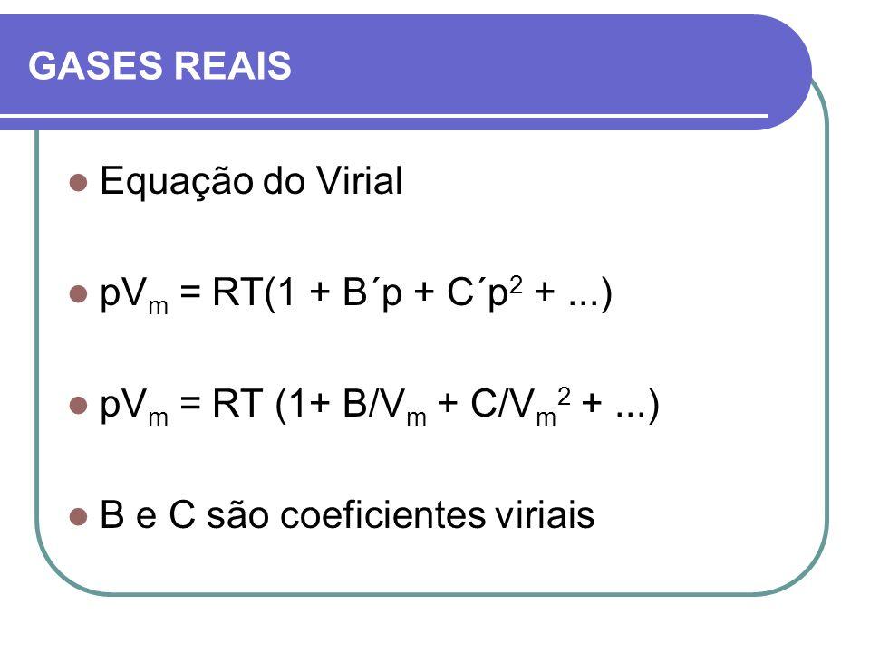 GASES REAIS Equação do Virial pV m = RT(1 + B´p + C´p 2 +...) pV m = RT (1+ B/V m + C/V m 2 +...) B e C são coeficientes viriais