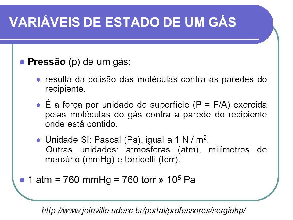 Pressão (p) de um gás: resulta da colisão das moléculas contra as paredes do recipiente. É a força por unidade de superfície (P = F/A) exercida pelas