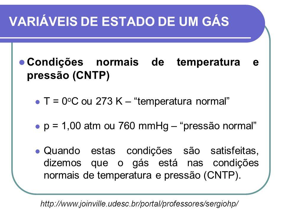 Condições normais de temperatura e pressão (CNTP) T = 0 o C ou 273 K – temperatura normal p = 1,00 atm ou 760 mmHg – pressão normal Quando estas condi