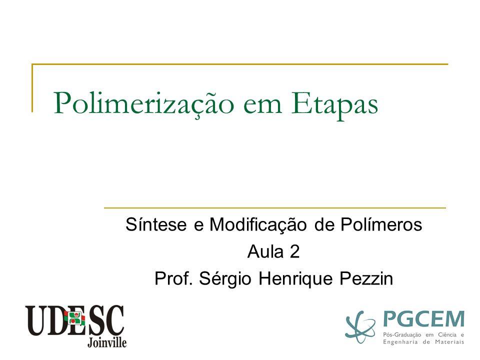 Base para a Análise da Cinética de Polimerização - Esterificação Mecanismo: esterificação catalisada por ácido