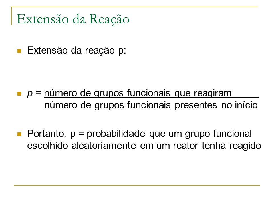 Extensão da Reação Extensão da reação p: p = número de grupos funcionais que reagiram_____ número de grupos funcionais presentes no início Portanto, p