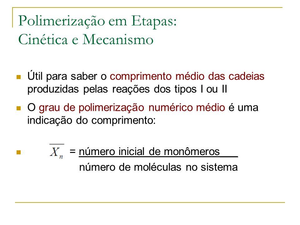 Polimerização em Etapas: Cinética e Mecanismo Útil para saber o comprimento médio das cadeias produzidas pelas reações dos tipos I ou II O grau de pol