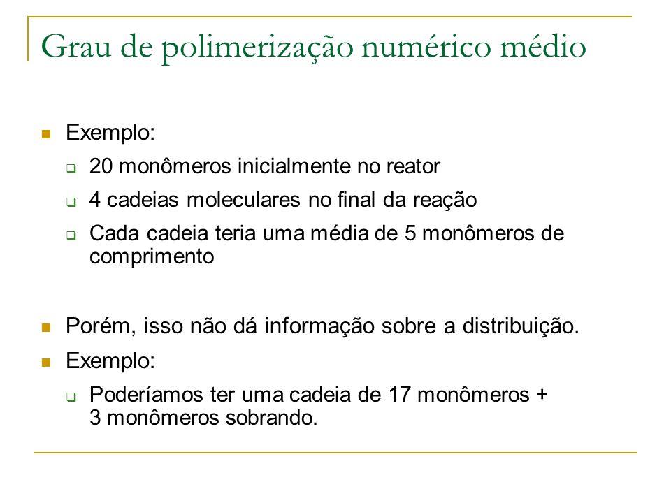 Grau de polimerização numérico médio Exemplo: 20 monômeros inicialmente no reator 4 cadeias moleculares no final da reação Cada cadeia teria uma média
