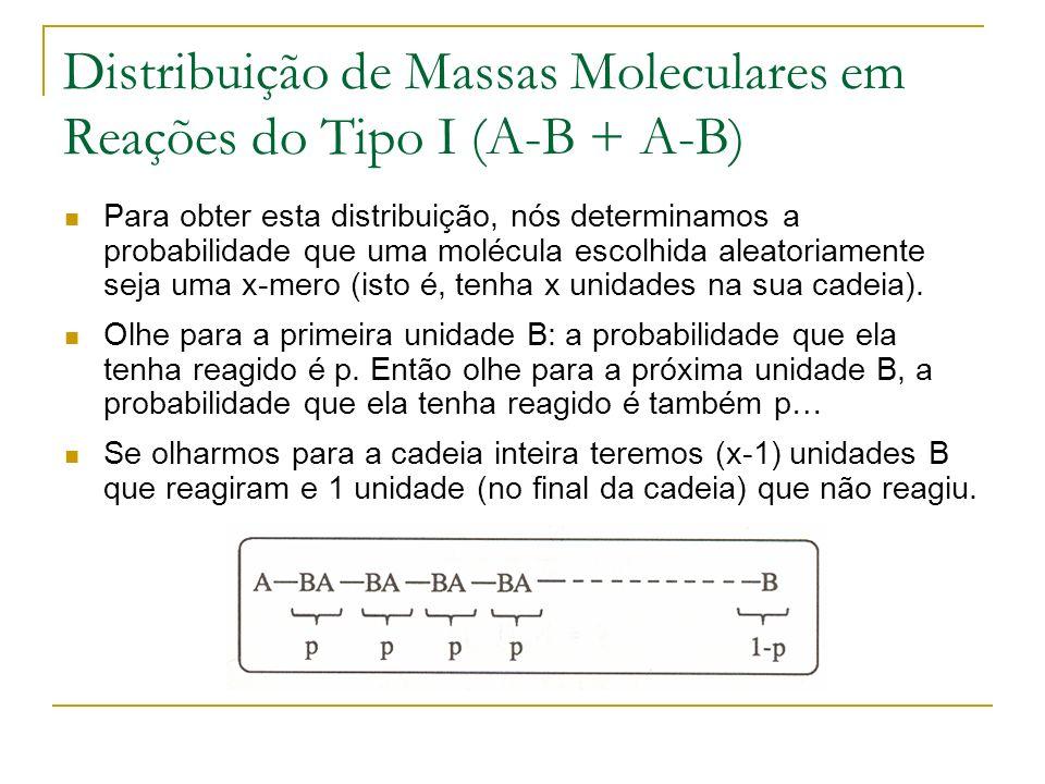 Distribuição de Massas Moleculares em Reações do Tipo I (A-B + A-B) Para obter esta distribuição, nós determinamos a probabilidade que uma molécula es