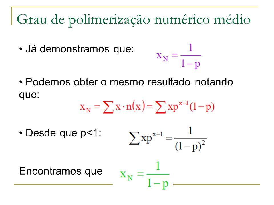 Grau de polimerização numérico médio Já demonstramos que: Podemos obter o mesmo resultado notando que: Desde que p<1: Encontramos que