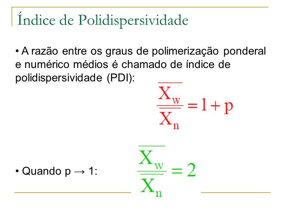 Índice de Polidispersividade A razão entre os graus de polimerização ponderal e numérico médios é chamado de índice de polidispersividade (PDI): Quand