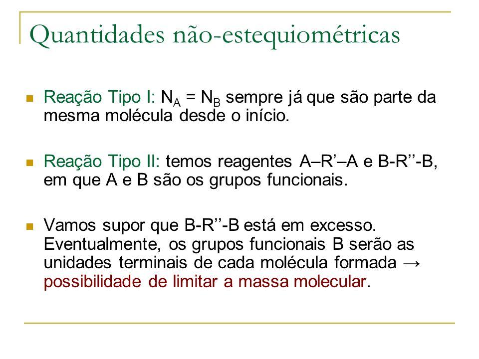 Quantidades não-estequiométricas Reação Tipo I: N A = N B sempre já que são parte da mesma molécula desde o início. Reação Tipo II: temos reagentes A–