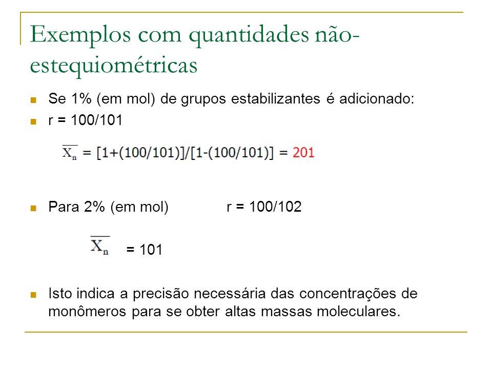 Exemplos com quantidades não- estequiométricas Se 1% (em mol) de grupos estabilizantes é adicionado: r = 100/101 Para 2% (em mol) r = 100/102 = 101 Is