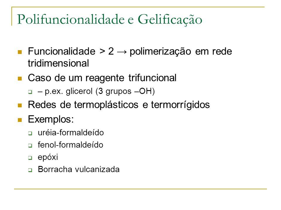Polifuncionalidade e Gelificação Funcionalidade > 2 polimerização em rede tridimensional Caso de um reagente trifuncional – p.ex. glicerol (3 grupos –