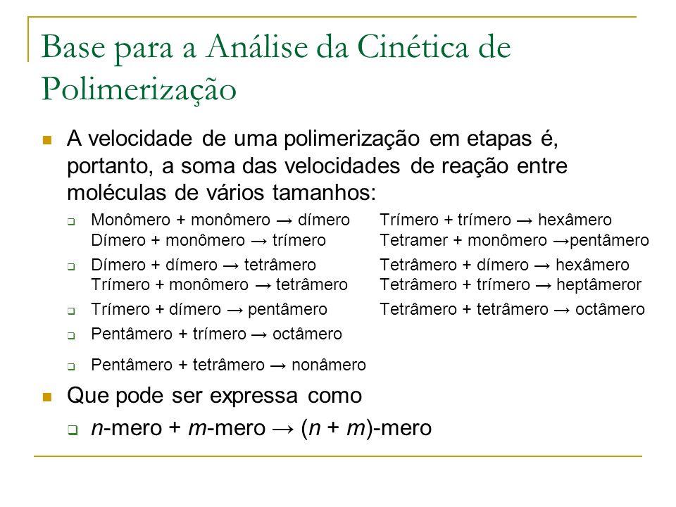 Base para a Análise da Cinética de Polimerização A cinética com inúmeras reações separadas difícil de analisar.