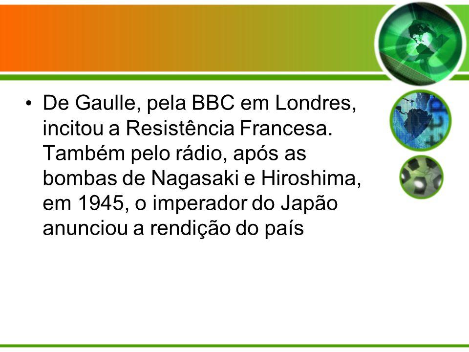 De Gaulle, pela BBC em Londres, incitou a Resistência Francesa.
