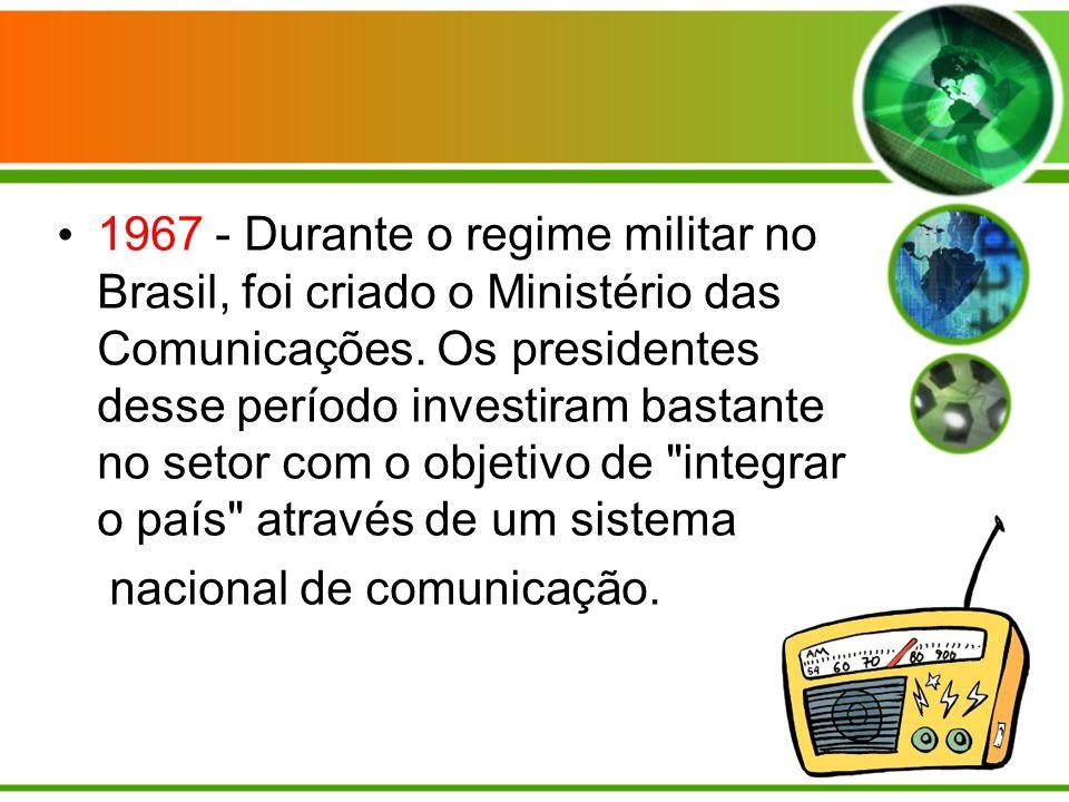 1967 - Durante o regime militar no Brasil, foi criado o Ministério das Comunicações.