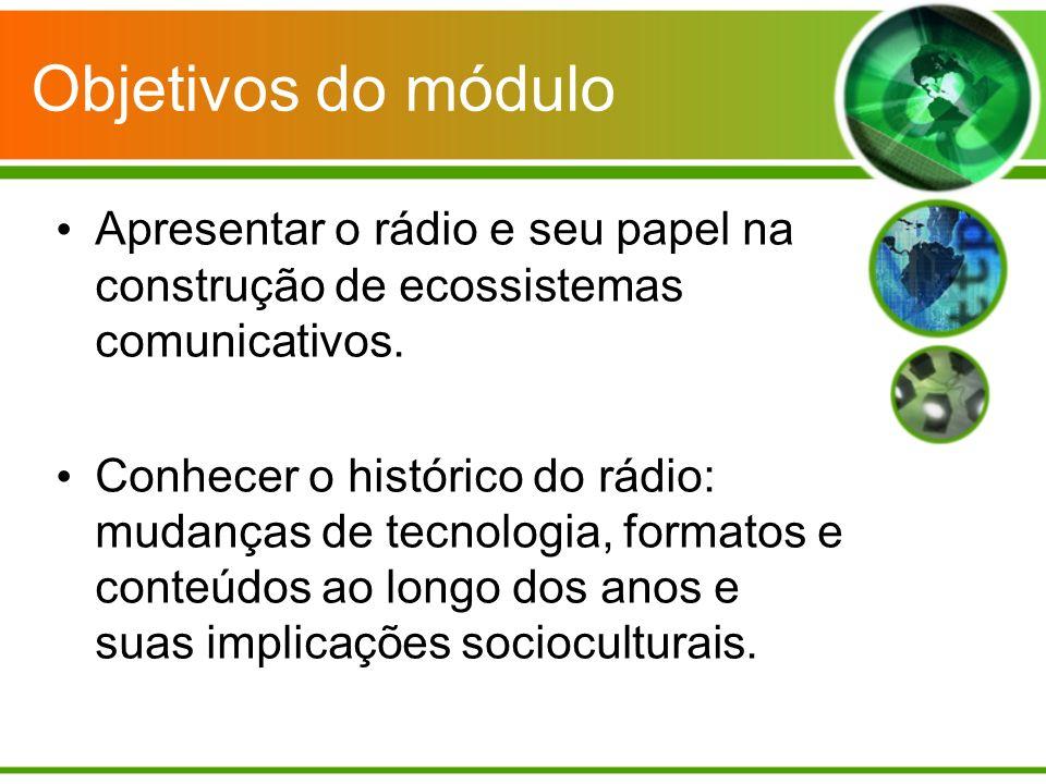Contextualizar os usos do rádio: aspectos sociais, culturais e educativos.