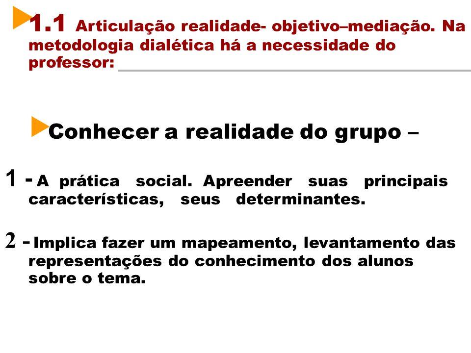1.1 Articulação realidade- objetivo–mediação. Na metodologia dialética há a necessidade do professor: Conhecer a realidade do grupo – 1 - A prática so