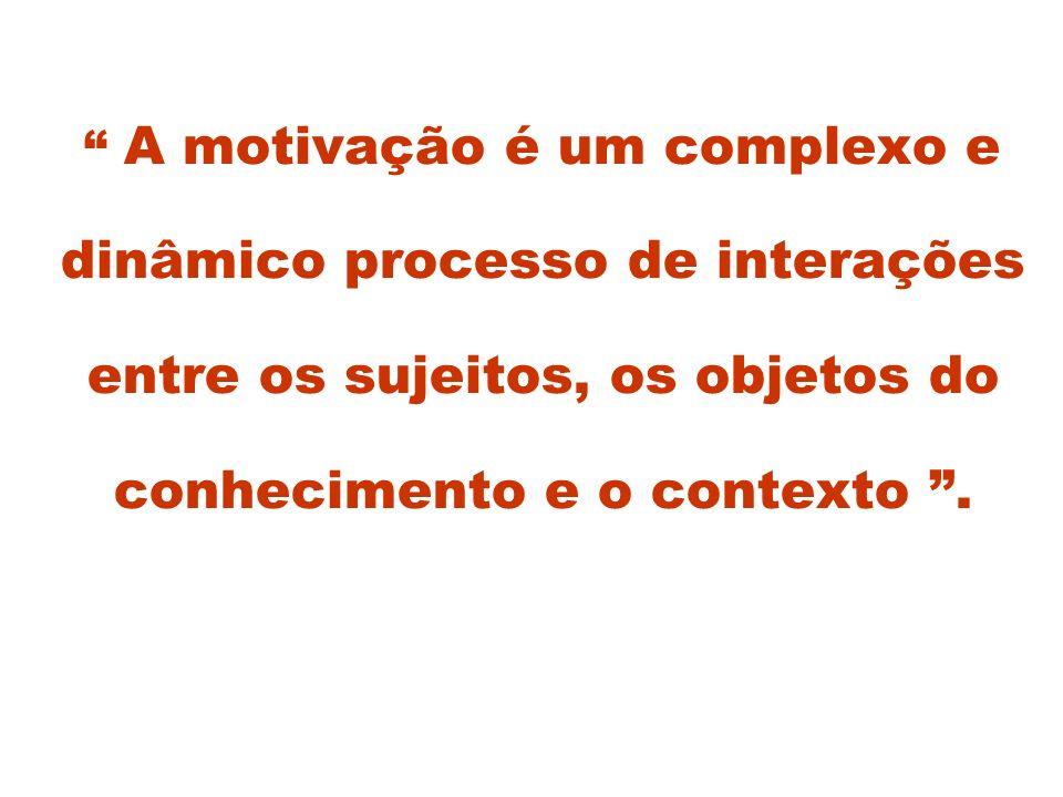 A motivação é um complexo e dinâmico processo de interações entre os sujeitos, os objetos do conhecimento e o contexto.