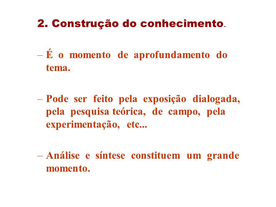 2. Construção do conhecimento. –É o momento de aprofundamento do tema. –Pode ser feito pela exposição dialogada, pela pesquisa teórica, de campo, pela