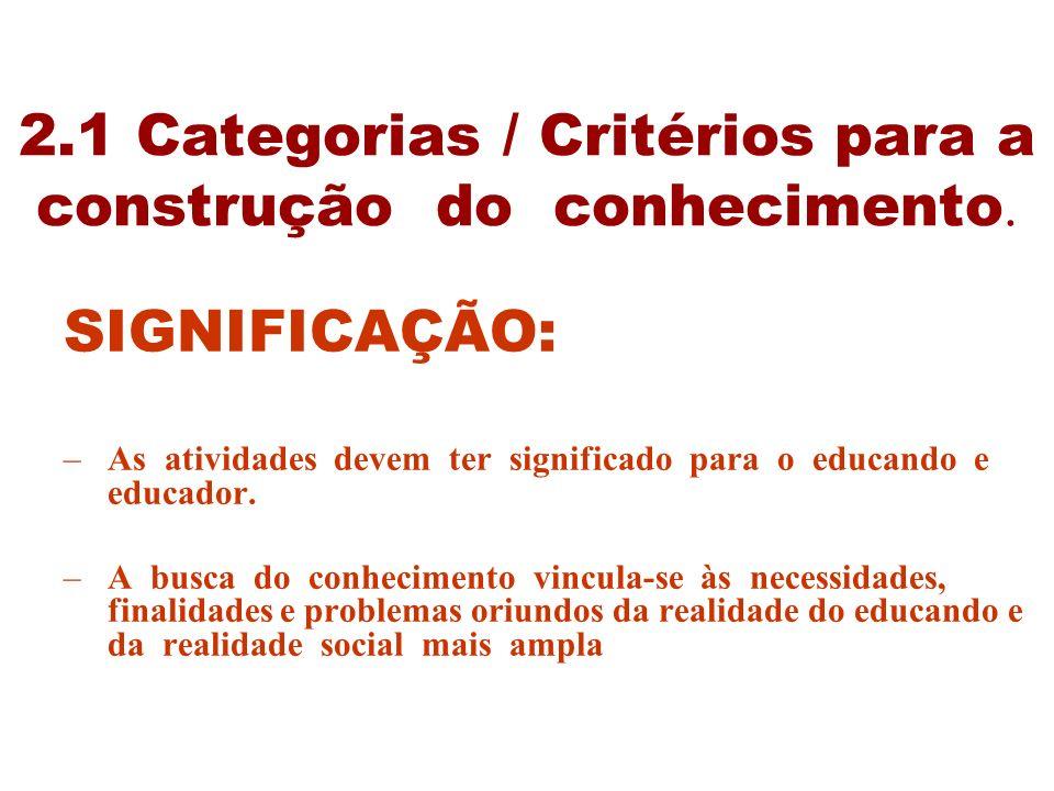2.1 Categorias / Critérios para a construção do conhecimento. SIGNIFICAÇÃO: –As atividades devem ter significado para o educando e educador. –A busca
