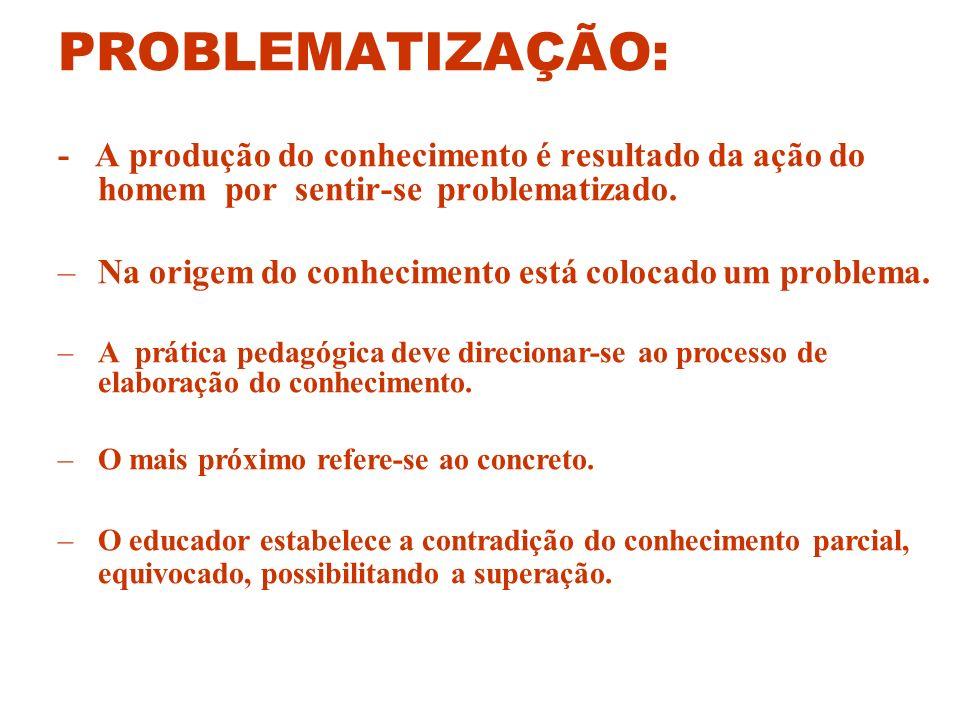 PROBLEMATIZAÇÃO: - A produção do conhecimento é resultado da ação do homem por sentir-se problematizado. –Na origem do conhecimento está colocado um p