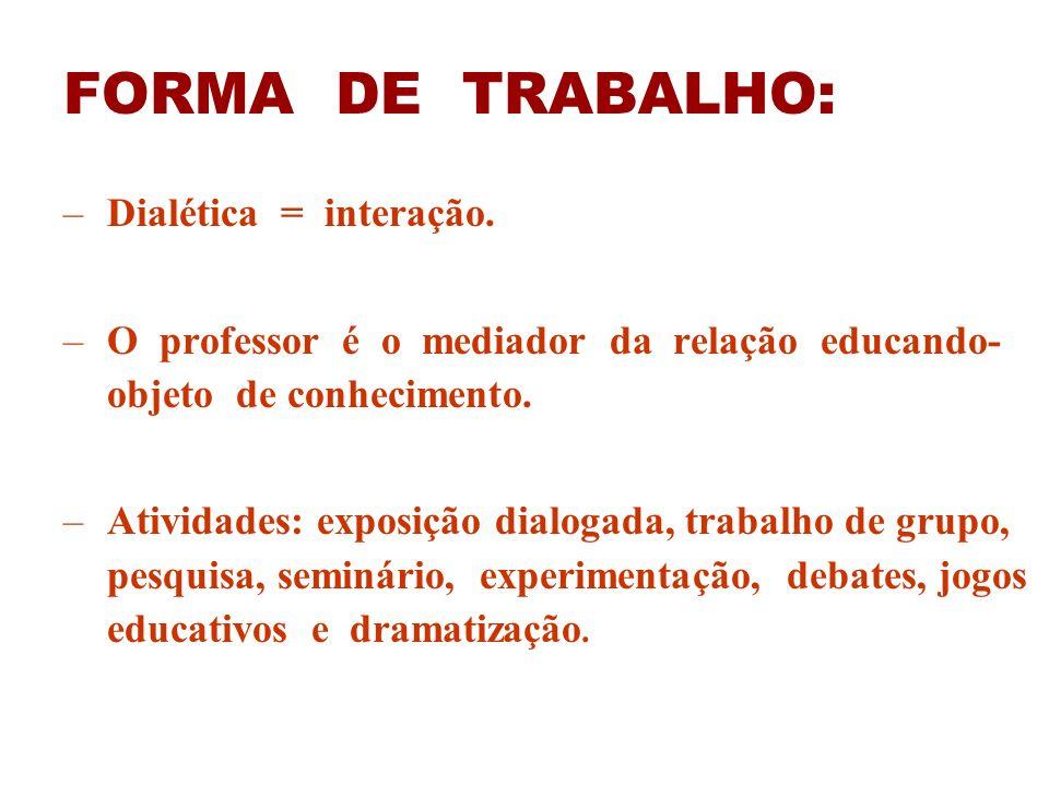 FORMA DE TRABALHO: –Dialética = interação. –O professor é o mediador da relação educando- objeto de conhecimento. –Atividades: exposição dialogada, tr