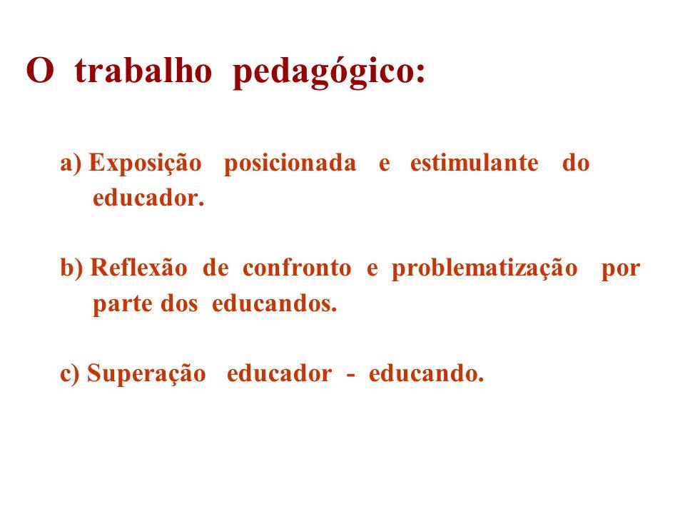 O trabalho pedagógico: a) Exposição posicionada e estimulante do educador. b) Reflexão de confronto e problematização por parte dos educandos. c) Supe