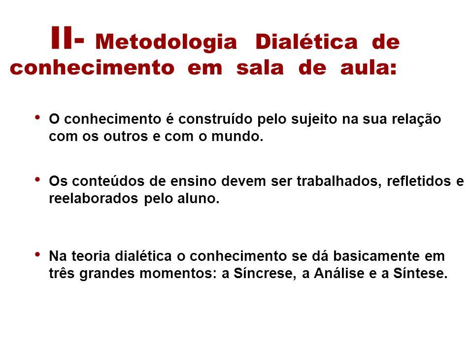 II- Metodologia Dialética de conhecimento em sala de aula: O conhecimento é construído pelo sujeito na sua relação com os outros e com o mundo. Os con