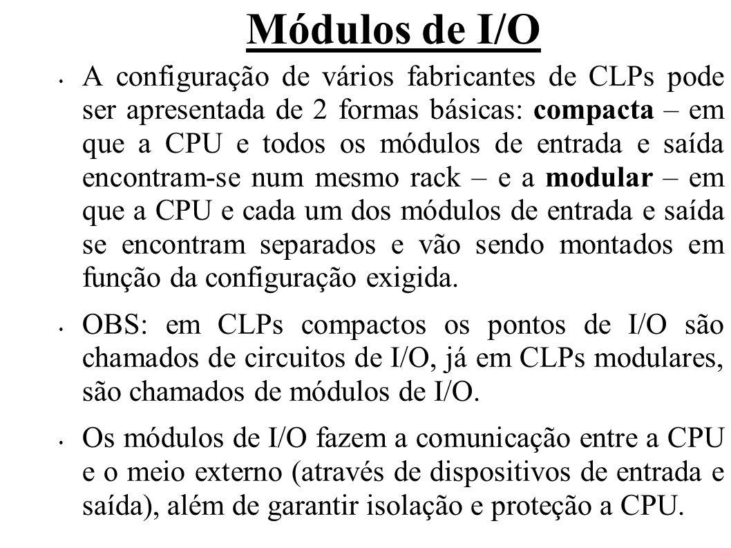 Módulos de I/O A configuração de vários fabricantes de CLPs pode ser apresentada de 2 formas básicas: compacta – em que a CPU e todos os módulos de entrada e saída encontram-se num mesmo rack – e a modular – em que a CPU e cada um dos módulos de entrada e saída se encontram separados e vão sendo montados em função da configuração exigida.