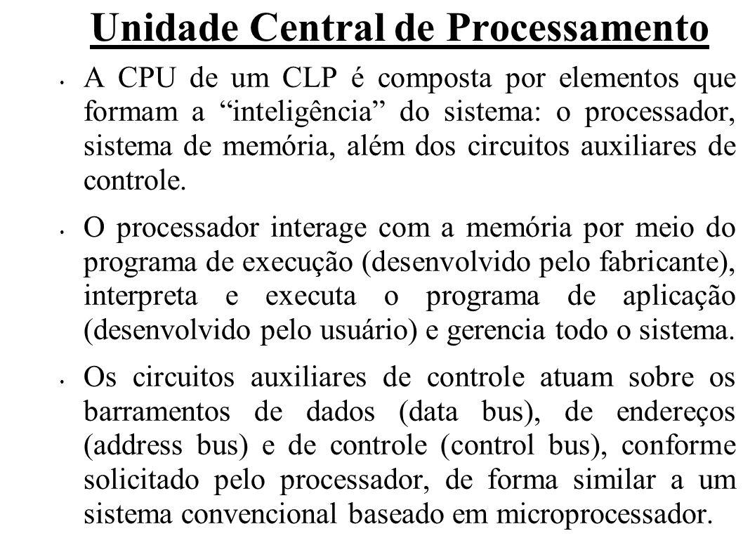 Unidade Central de Processamento A CPU de um CLP é composta por elementos que formam a inteligência do sistema: o processador, sistema de memória, além dos circuitos auxiliares de controle.