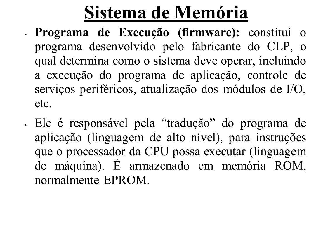 Sistema de Memória Programa de Execução (firmware): constitui o programa desenvolvido pelo fabricante do CLP, o qual determina como o sistema deve operar, incluindo a execução do programa de aplicação, controle de serviços periféricos, atualização dos módulos de I/O, etc.