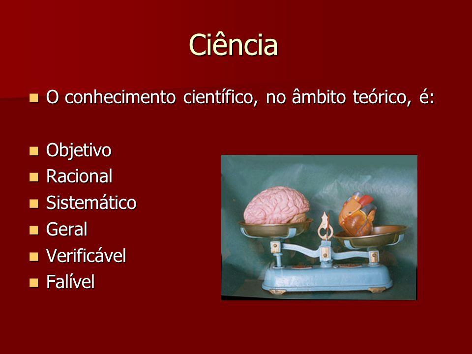 Ciência O conhecimento científico, no âmbito teórico, é: O conhecimento científico, no âmbito teórico, é: Objetivo Objetivo Racional Racional Sistemát