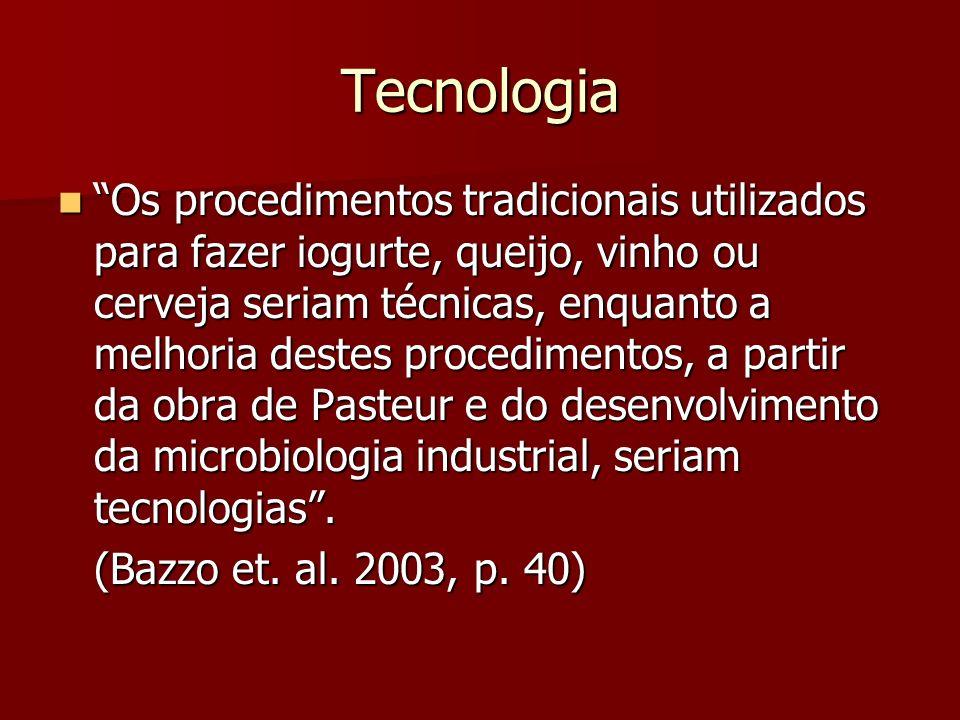 Tecnologia Os procedimentos tradicionais utilizados para fazer iogurte, queijo, vinho ou cerveja seriam técnicas, enquanto a melhoria destes procedime