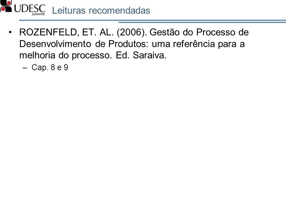 Leituras recomendadas ROZENFELD, ET. AL. (2006). Gestão do Processo de Desenvolvimento de Produtos: uma referência para a melhoria do processo. Ed. Sa