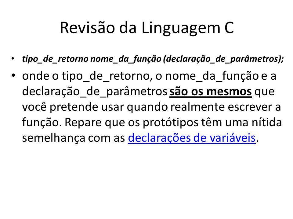 Revisão da Linguagem C tipo_de_retorno nome_da_função (declaração_de_parâmetros); onde o tipo_de_retorno, o nome_da_função e a declaração_de_parâmetro