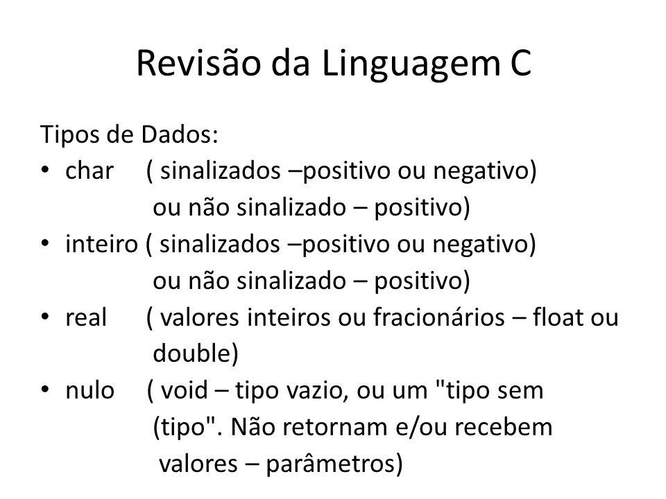 Revisão da Linguagem C Tipos de Dados: char ( sinalizados –positivo ou negativo) ou não sinalizado – positivo) inteiro ( sinalizados –positivo ou nega