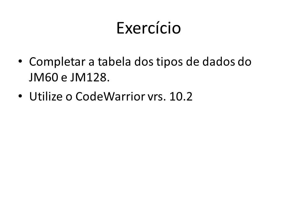 Exercício Completar a tabela dos tipos de dados do JM60 e JM128. Utilize o CodeWarrior vrs. 10.2
