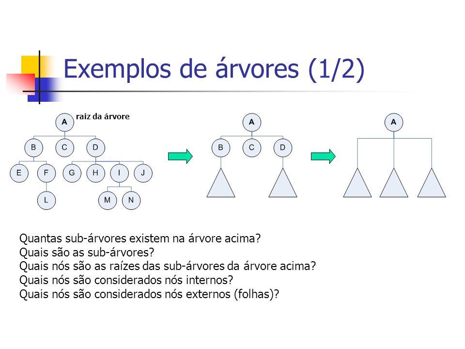 Exemplos de árvores (1/2) raiz da árvore Quantas sub-árvores existem na árvore acima? Quais são as sub-árvores? Quais nós são as raízes das sub-árvore
