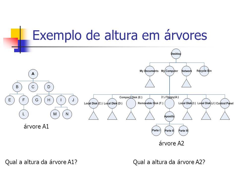 Exemplo de altura em árvores Qual a altura da árvore A1? árvore A1 Qual a altura da árvore A2? árvore A2