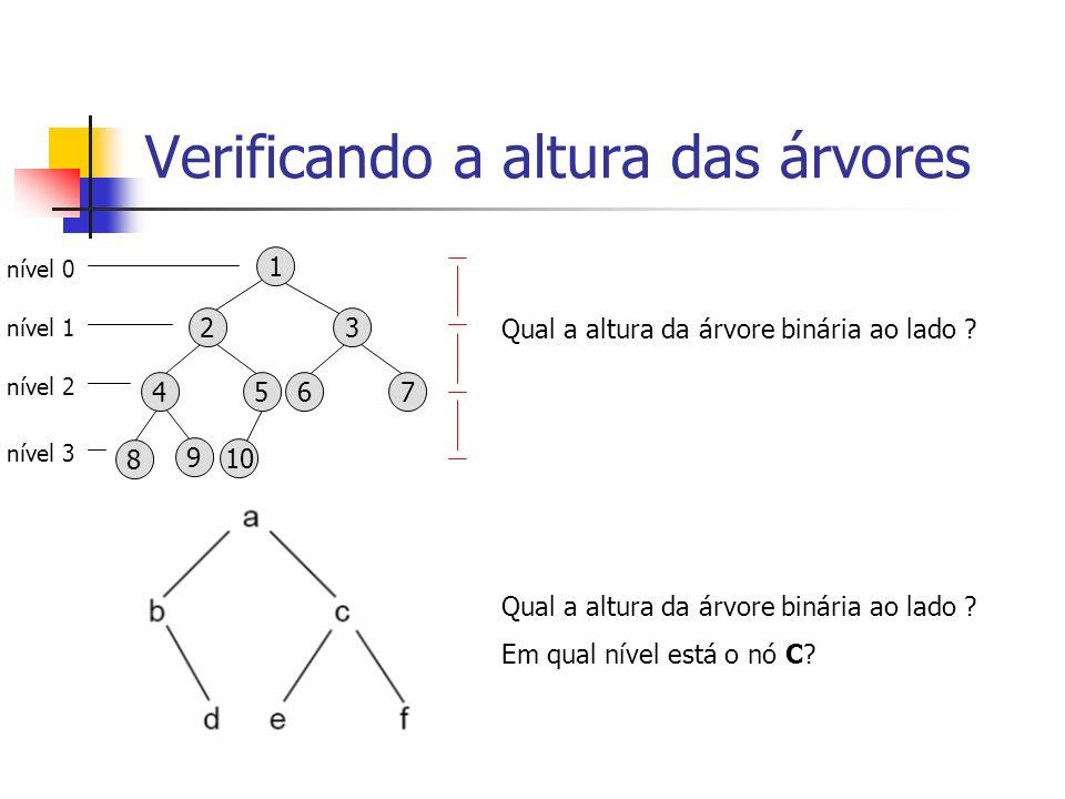 Verificando a altura das árvores 1 6 7 3 8 9 10 4 5 2 Qual a altura da árvore binária ao lado ? Em qual nível está o nó C? nível 0 nível 1 nível 2 nív
