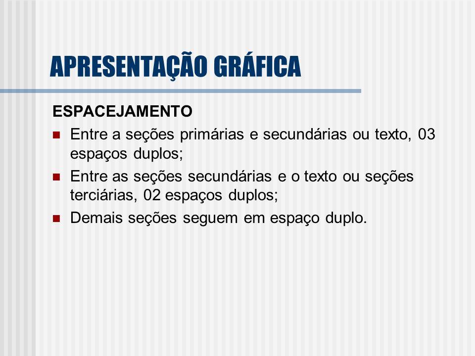 ESPACEJAMENTO Entre a seções primárias e secundárias ou texto, 03 espaços duplos; Entre as seções secundárias e o texto ou seções terciárias, 02 espaç