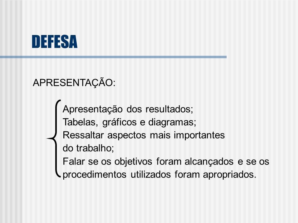 DEFESA APRESENTAÇÃO: Apresentação dos resultados; Tabelas, gráficos e diagramas; Ressaltar aspectos mais importantes do trabalho; Falar se os objetivo