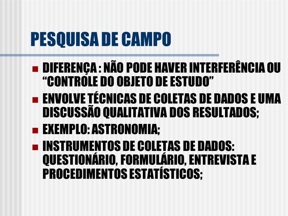 PESQUISA DE CAMPO DIFERENÇA : NÃO PODE HAVER INTERFERÊNCIA OU CONTROLE DO OBJETO DE ESTUDO ENVOLVE TÉCNICAS DE COLETAS DE DADOS E UMA DISCUSSÃO QUALIT