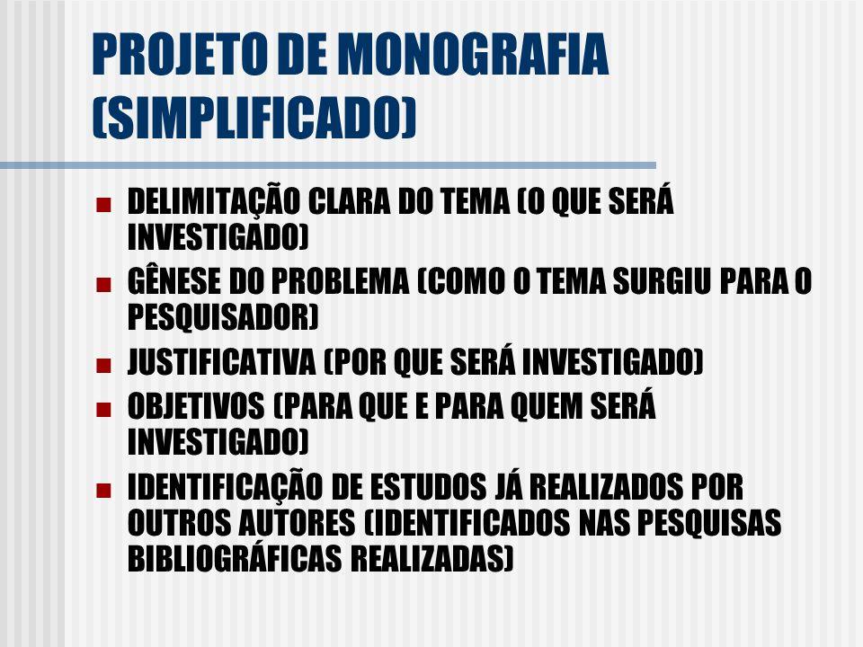 PROJETO DE MONOGRAFIA (SIMPLIFICADO) DELIMITAÇÃO CLARA DO TEMA (O QUE SERÁ INVESTIGADO) GÊNESE DO PROBLEMA (COMO O TEMA SURGIU PARA O PESQUISADOR) JUS