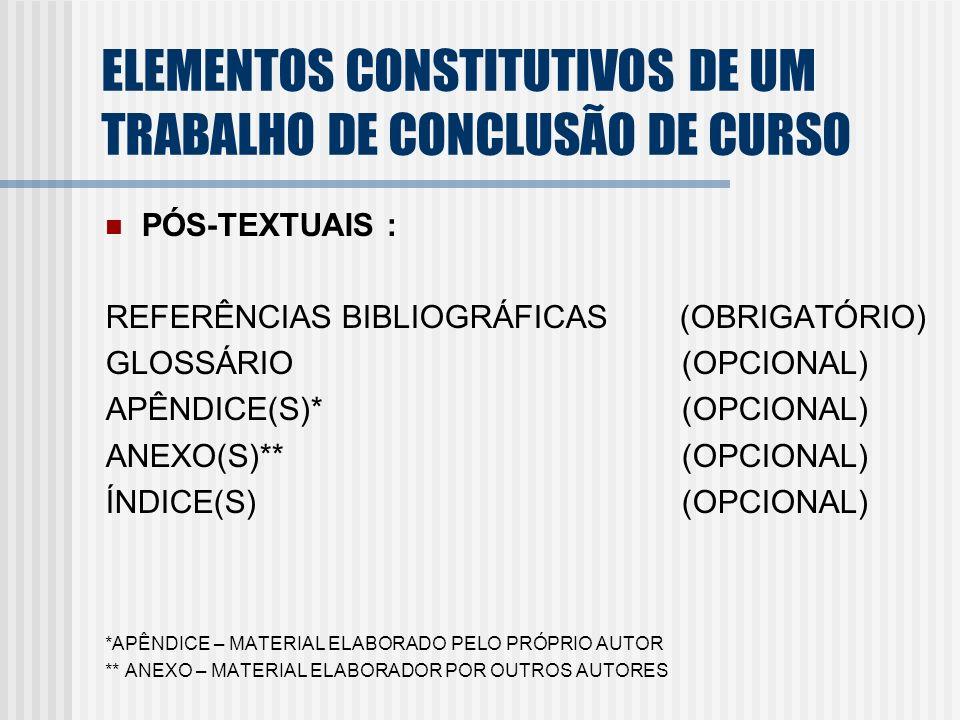 PÓS-TEXTUAIS : REFERÊNCIAS BIBLIOGRÁFICAS (OBRIGATÓRIO) GLOSSÁRIO (OPCIONAL) APÊNDICE(S)* (OPCIONAL) ANEXO(S)** (OPCIONAL) ÍNDICE(S) (OPCIONAL) *APÊND