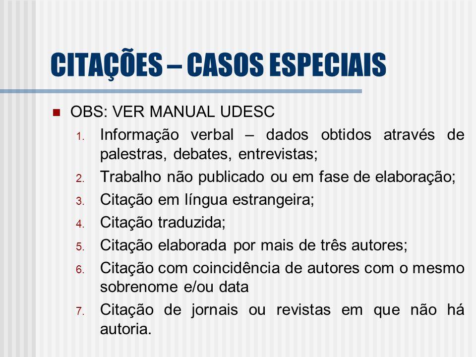CITAÇÕES – CASOS ESPECIAIS OBS: VER MANUAL UDESC 1. Informação verbal – dados obtidos através de palestras, debates, entrevistas; 2. Trabalho não publ