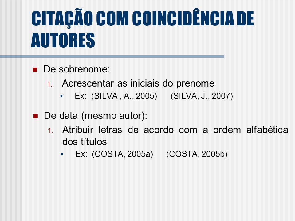 CITAÇÃO COM COINCIDÊNCIA DE AUTORES De sobrenome: 1. Acrescentar as iniciais do prenome Ex: (SILVA, A., 2005) (SILVA, J., 2007) De data (mesmo autor):