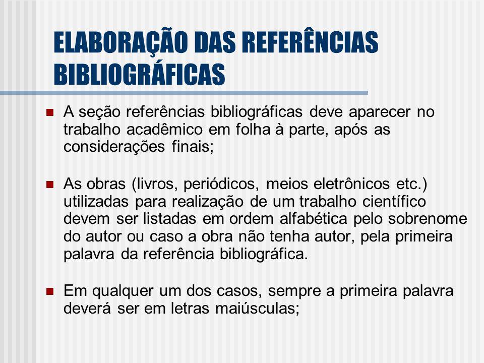 A seção referências bibliográficas deve aparecer no trabalho acadêmico em folha à parte, após as considerações finais; As obras (livros, periódicos, m